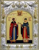 Петр и Феврония (княжеские), икона в ризе, артикул 41406