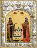 Петр и Феврония монашеские икона в ризе артикул 41458