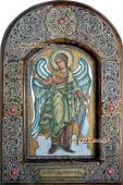 Ангел Хранитель ростовой икона из бересты с широкой рамкой