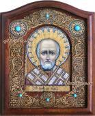 Икона Николая Чудотворца сделанная из берасты