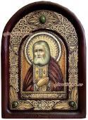 Святой Серафим икона из бересты
