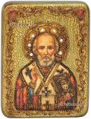 Николай Чудотворец икона в деревянной шкатулке