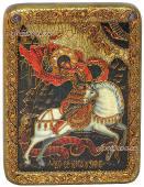Икона Георгия под старину с камнями