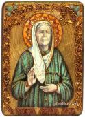 Матрона Блаженная, икона под старину с камнями