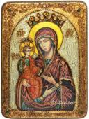 Троеручица икона состаренная с камнями