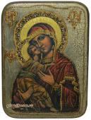 Владимирская Божия Матерь, большая подарочная икона, с камнями, на дубе