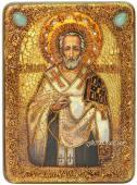 Иоанн Златоуст, икона подарочная под старину