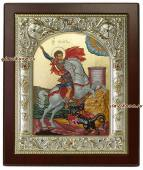 Георгий Победоносец серебряная икона