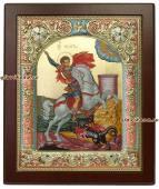 Икона Георгия в серебряном окладе
