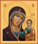 Казанская Божия Матерь, в старинном стиле, печатная на дереве икона
