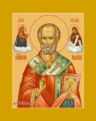 Николай Чудотворец, святитель, печатная на дереве икона