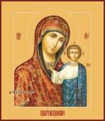 Казанская Божия Матерь, в живописном стиле, печатная на дереве икона
