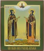 Петр и Феврония аналойная икона писанная в палехском стиле