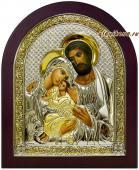 Святое Семейство икона в серебре