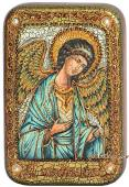 Ангел Хранитель голубые одежды подарочная икона на дубе малая