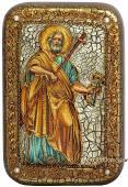 Петр Апостол, с ключом, подарочная икона на дубе, малая