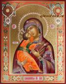 Владимирская Богородица с резьбой по левкасу