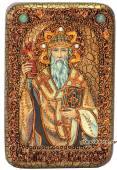 Спиридон Тримифунтский подарочная икона на дубе малая
