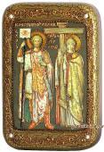 Константин и Елена подарочная икона на дубе малая