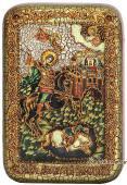 Чудо вмч. Дмитрия Солунского о царе Калояне, подарочная икона на дубе, малая