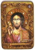 Господь Вседержитель, оплечный, подарочная икона на дубе, малая
