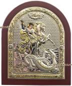 Георгий Победоносец, икона в серебре