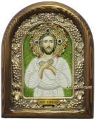 Икона святого Алексия сделанная бисером
