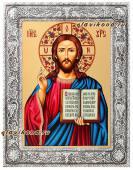 Господь, икона шелкогафия в окладе