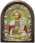 Александр Невский икона из бисера в киоте