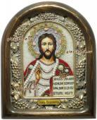 Икона Господа Вседержителя оформленная жемчугом