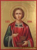Икона Пантелеймона с резьбой по левкасу артикул 511