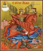 Икона Архангела Михаила писанная темперой с золочением артикул 501
