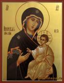 Богородица Иверская с золочением писаная икона артикул 213