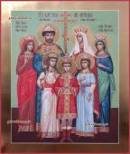 Царственные страстотерпцы писаная икона с золочением