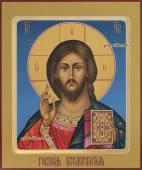 Писана икона Господа с ковчегом на синем фоне артикул 607