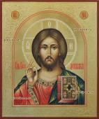 Рукописная икона Спасителя с золочением и чеканкой артикул 618