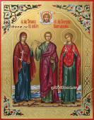 Писаная семейная икона с резьбой, узорами и золочением, артикул 4001