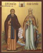 Семейная икона с двумя святыми с золочением артикул 4002