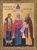 Писаная семейная икона с золочением и росписью узорами, артикул 4003