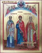 Писаная семейная икона с Покровом и Ангелами артикул 4004