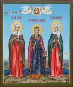 Семейная икона с тремя святыми со Спасом и Ангелами артикул 4009