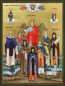 Писаная семейная икона с 7-ю святыми покровителями и Ангелом артикул 4011