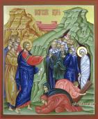 Воскрешение Лазаря писаная на доске икона артикул 412