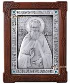 Серебряная икона святого преподобного Сергия Радонежского артикул 11148