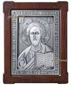Серебряная икона Спасителя со стразами артикул 11179