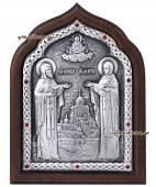 Серебряная икона Кирилла и Марии с красными стразами артикул 11181
