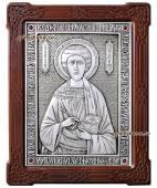 Целитель Пантелеимон серебряная икона гальваническая артикул 11135