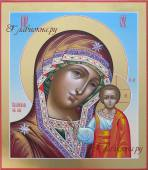 Казанская Божия Матерь, писаная икона с золочением полей, артикул 257