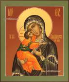 Образ Владимирской Божией Матери коричневый фон - вид иконы без ковчега