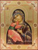 Владимирская Божия Матерь икона писаная с чеканкой и золочением артикул 209